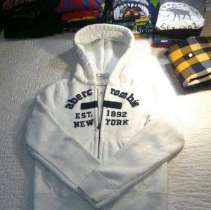 Abercrombie Kids White Hoodie Jacket EUC Size M